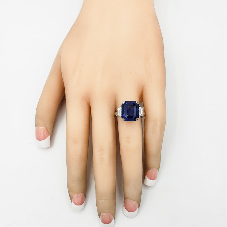 GIA Certified Blue Sapphire and Diamond Three-Stone Engagement Ring For Sale 1