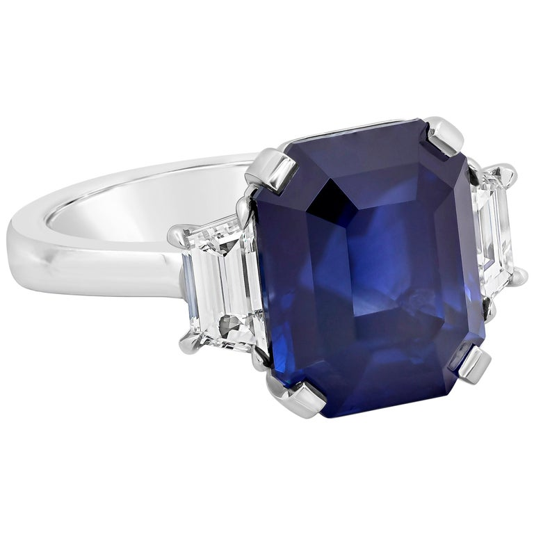 GIA Certified Blue Sapphire and Diamond Three-Stone Engagement Ring For Sale