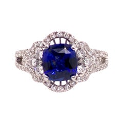 GIA Certified Blue Sapphire Diamond Cocktail Dinner Ring