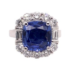 GIA Certified Blue Sapphire Diamond Cocktail Ring in Platinum