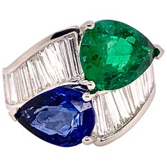 GIA Certified Blue Sapphire, Emerald, and Diamond Band Ring