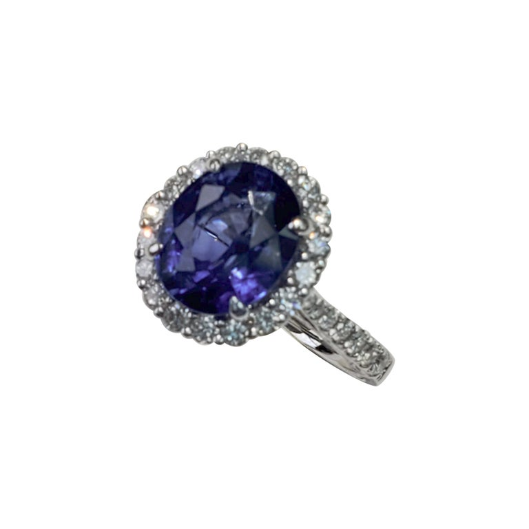 Oval Cut GIA Certified Blue Sapphire Oval Ring with White Diamonds For Sale