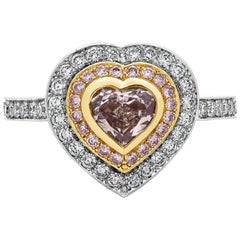 GIA Certified Brownish Pink Diamond Double Halo Engagement Ring
