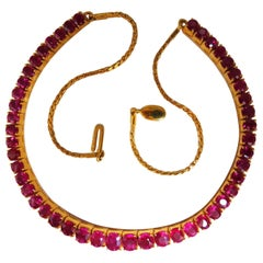 GIA Certified Burma 33.19ct Natural Ruby Tennis Necklace 18kt Prime Vivid Reds