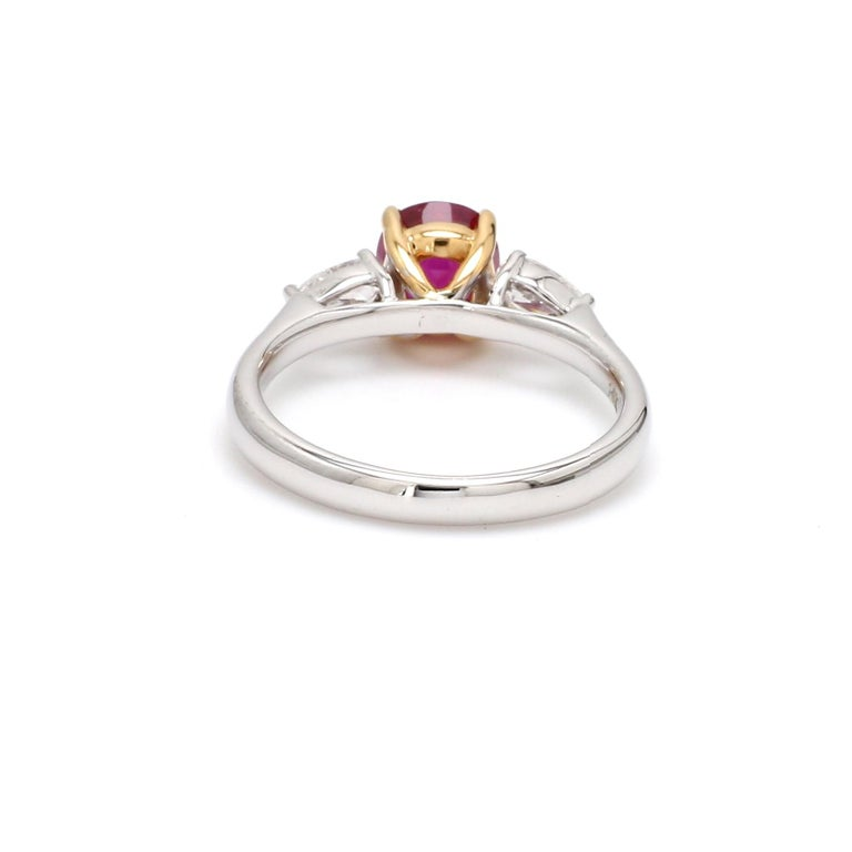 Contemporary GIA Certified Burma No Heat Ruby Diamond 18 Karat White Gold Ring For Sale