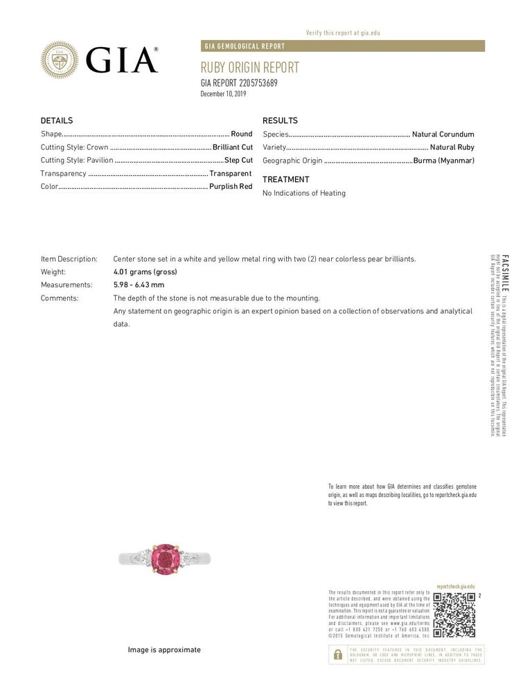 GIA Certified Burma No Heat Ruby Diamond 18 Karat White Gold Ring In New Condition For Sale In Hollywood, FL