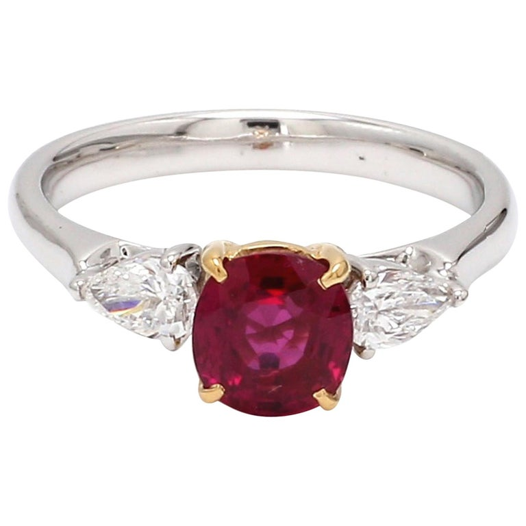 GIA Certified Burma No Heat Ruby Diamond 18 Karat White Gold Ring For Sale