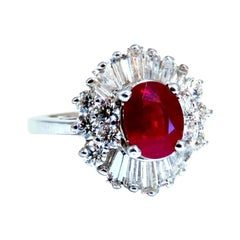GIA Certified Burma Ruby 1.75ct Ballerina Cocktail Diamond Ring 14kt
