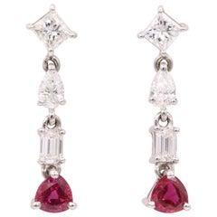 GIA Certified Burma Ruby Diamond Drop Earrings 3.53 Carat 18 Karat White Gold