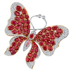 GIA Burmese Ruby Pink Sapphire and Diamond Pave 18k Yellow Gold Butterfly Pin