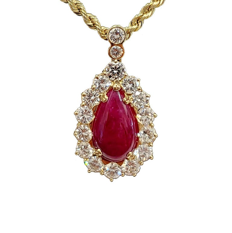 Retro GIA Certified, Cabochon No Heat Ruby and Diamond Pendant and Earring Set For Sale