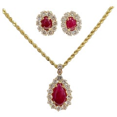 GIA Certified, Cabochon No Heat Ruby and Diamond Pendant and Earring Set