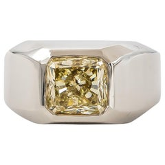 GIA Certified Canary Diamond Ring 4.00 Carat Fancy Light Yellow 18 Karat Gold