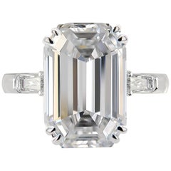 GIA Certified 5.75 Carat Emerald-Cut Diamond Ring D Color Flawless Clarity