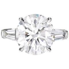 I FLAWLESS GIA Certified 3 Carat Round Brilliant Cut Platinum Ring