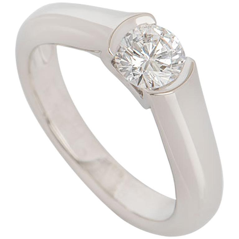 3bfe95d6964ae GIA Certified Cartier C de Cartier Platinum Diamond Ring 0.54 Carat For Sale