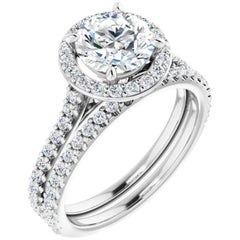 GIA Certified Cathedral Halo Round Diamond Engagement Ring