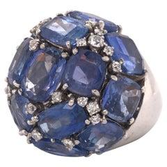 Ceylon Sapphire & Diamond Large Dome Palladium Ring GIA Certified