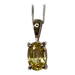 GIA Certified Ceylon Yellow Untreated Sapphire 18 Karat White Gold Oval Pendant