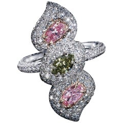 "GIA Certified ""Chameleon"" and Pink Diamond Cocktail Ring"