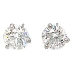 GIA Certified Classic 3.02 Diamond Carat Stud Earrings