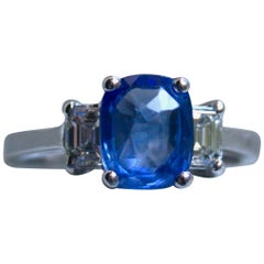 GIA Certified Classic Vintage Ceylon Sapphire and Diamond Engagement Ring