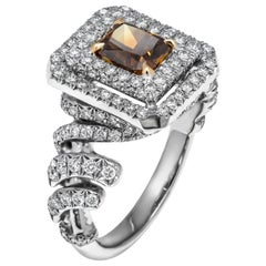 GIA Certified Cocktail Ring with 1.01 Carat Fancy Deep Orange-Brown Diamond