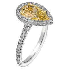 GIA Certified Cocktail Ring with 2.03 Carat Fancy Light Yellow Pear Shape