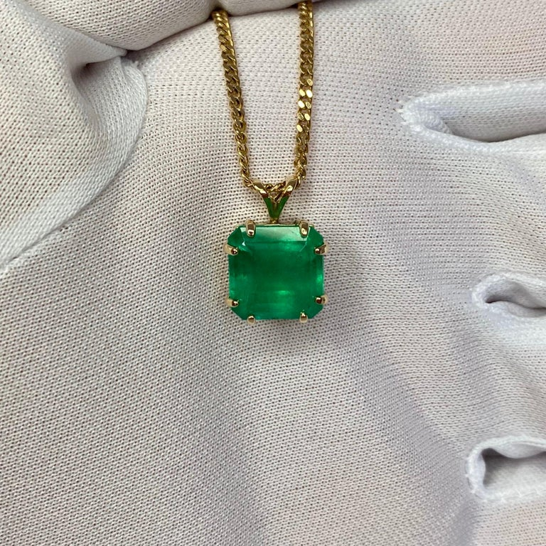 GIA Certified Colombian Emerald 6 Carat Yellow Gold Emerald Cut Pendant Necklace 6