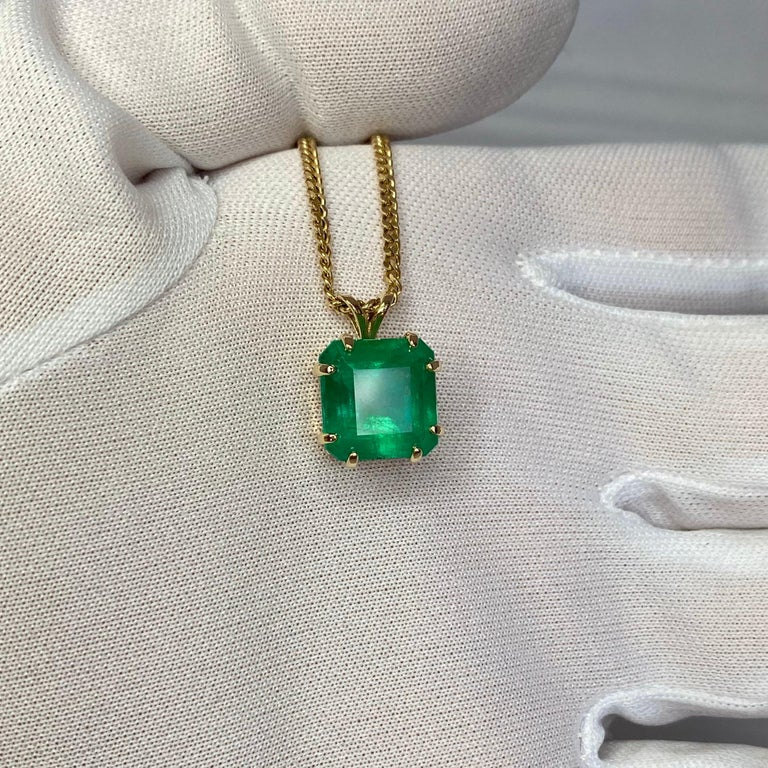 GIA Certified Colombian Emerald 6 Carat Yellow Gold Emerald Cut Pendant Necklace 7