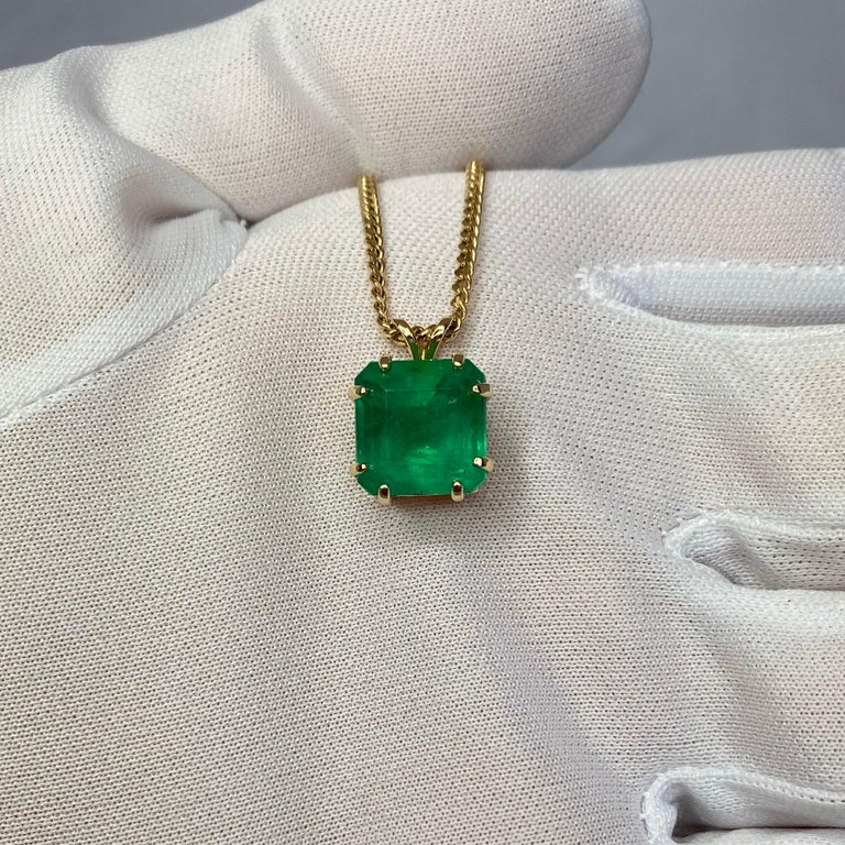GIA Certified Colombian Emerald 6 Carat Yellow Gold Emerald Cut Pendant Necklace 8