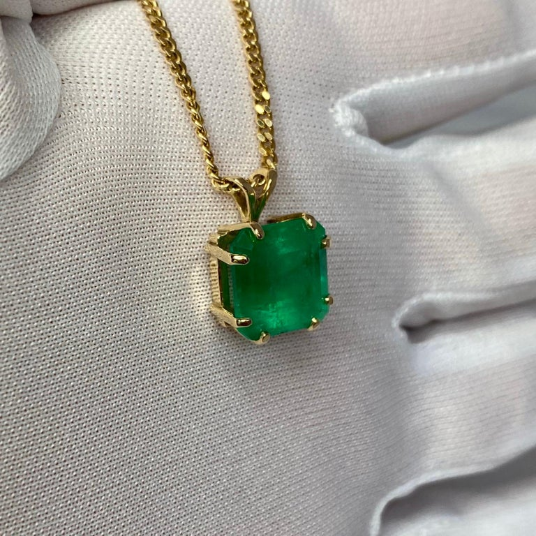 GIA Certified Colombian Emerald 6 Carat Yellow Gold Emerald Cut Pendant Necklace 2