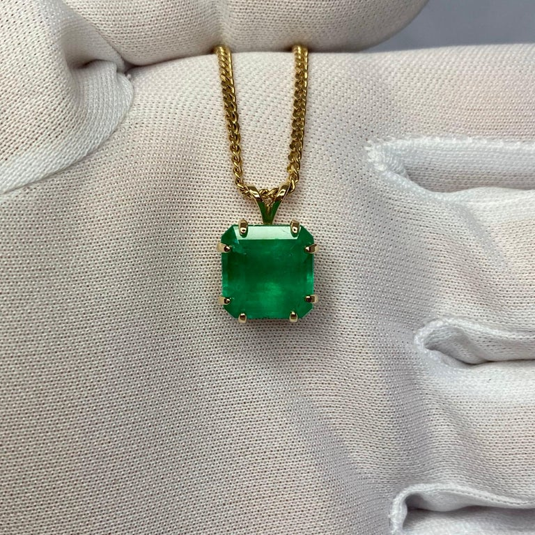 GIA Certified Colombian Emerald 6 Carat Yellow Gold Emerald Cut Pendant Necklace 3