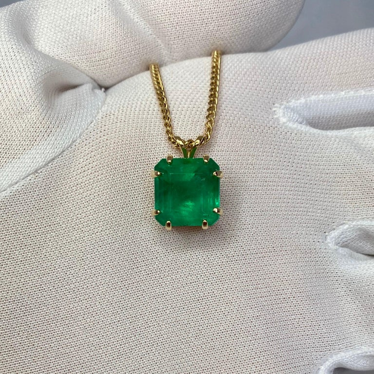 GIA Certified Colombian Emerald 6 Carat Yellow Gold Emerald Cut Pendant Necklace 4