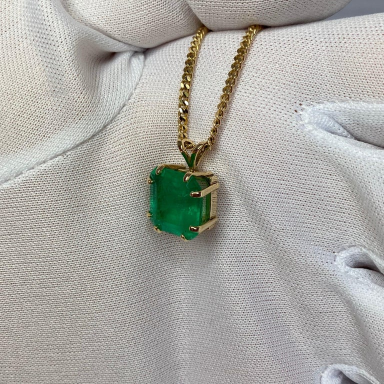 GIA Certified Colombian Emerald 6 Carat Yellow Gold Emerald Cut Pendant Necklace 5