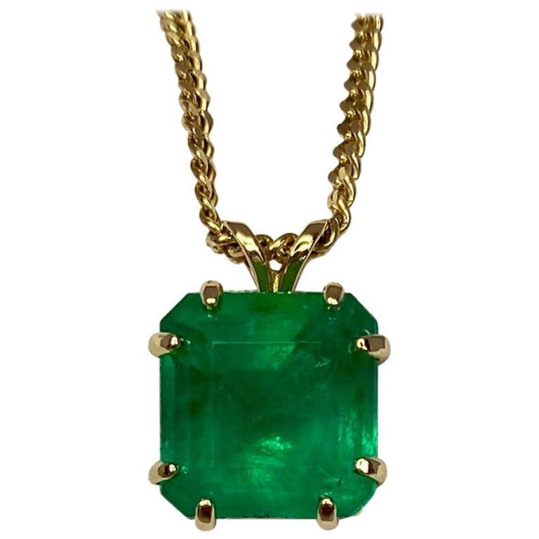 GIA Certified Colombian Emerald 6 Carat Yellow Gold Emerald Cut Pendant Necklace