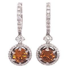 GIA Certified Colored Diamond Drop Earrings
