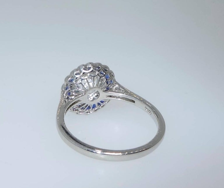 GIA Certified Colorless Diamond and Sapphire Ring In As new Condition For Sale In Aspen, CO