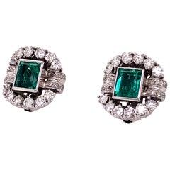 GIA Certified Columbian Emerald and Diamond Platinum Earrings