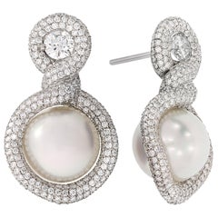 "Rosior GIA Certified Diamond and South Sea Pearl 1.18"" Drop Earrings"