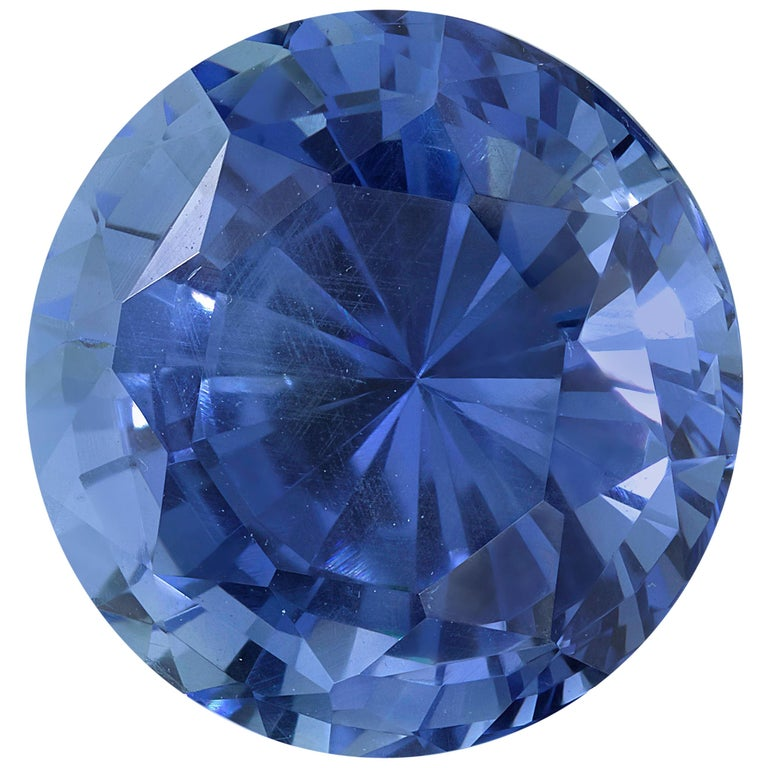 GIA Certified Cornflower Blue Unheated 5.84 Carat Round Blue Sapphire For Sale