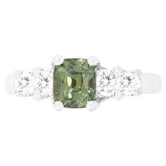 GIA Certified Cushion Alexandrite Round Diamond Engagement Cocktail Ring 18K