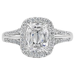 GIA Certified Cushion Brilliant Diamond Halo Engagement Ring