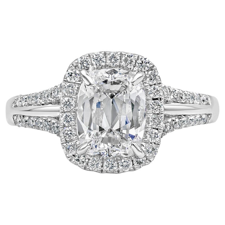 Roman Malakov GIA Certified Cushion Brilliant Diamond Halo Engagement Ring For Sale