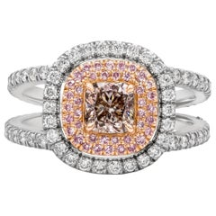 GIA Certified Cushion Cur Pink-Brown Diamond Double Halo Engagement Ring