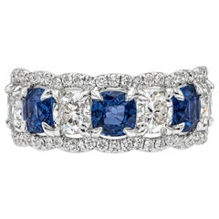 GIA Certified Cushion Cut Diamond and Blue Ceylon Sapphire Halo Seven-Stone Ring