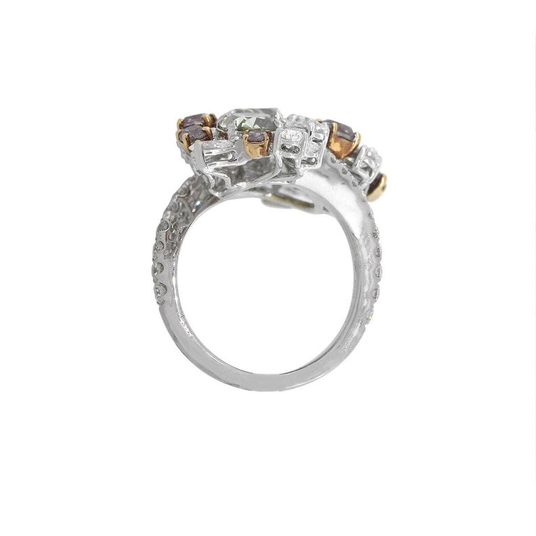 GIA Certified Cushion Cut Diamond Cocktail Ring In New Condition For Sale In Boca Raton, FL