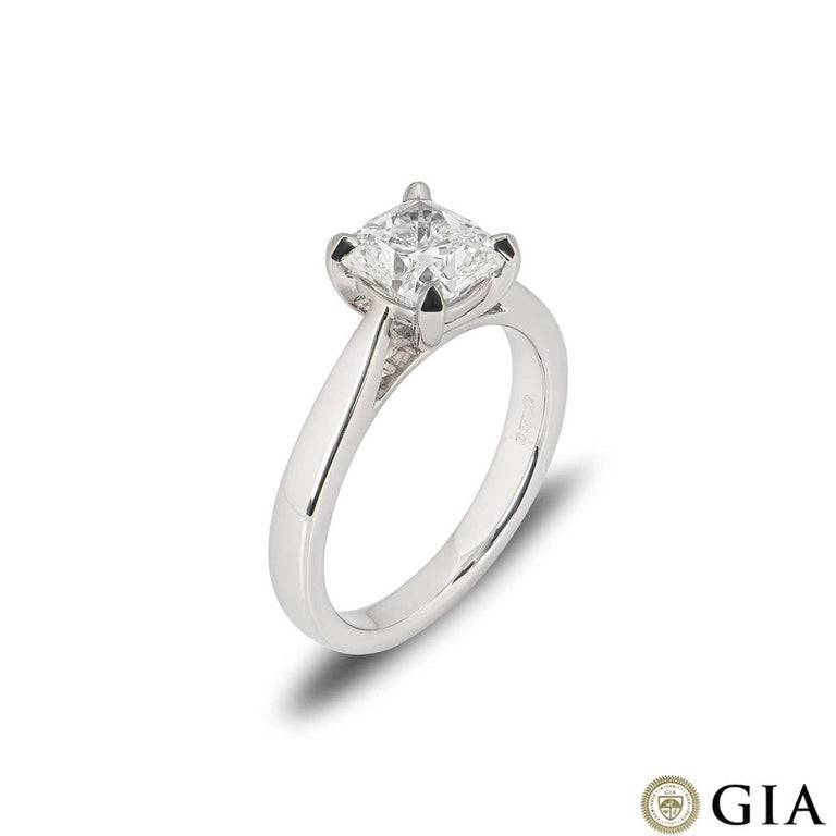 A stunning platinum cushion cut diamond engagement ring. The ring comprises of a cushion cut diamond in a four claw setting with a weight of 1.70ct, F colour and VS1 clarity. The ring is currently a size UK M / EU 52 / US 6 but can be adjusted for a