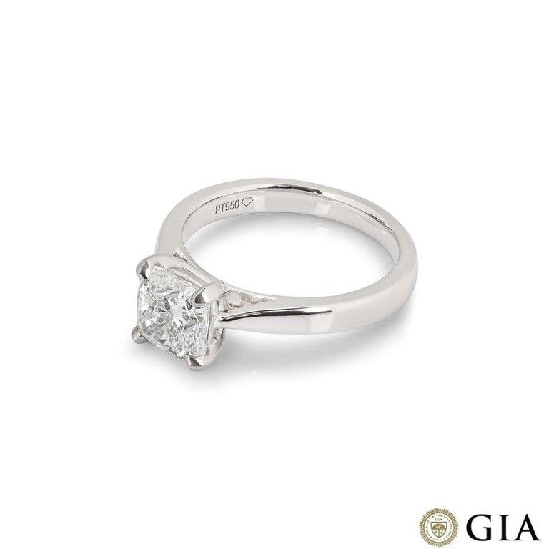 Women's GIA Certified Cushion Cut Diamond Engagement Ring 1.70 Carat F/VS1 For Sale