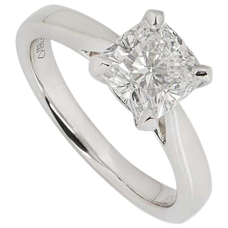 GIA Certified Cushion Cut Diamond Engagement Ring 1.70 Carat F/VS1 For Sale
